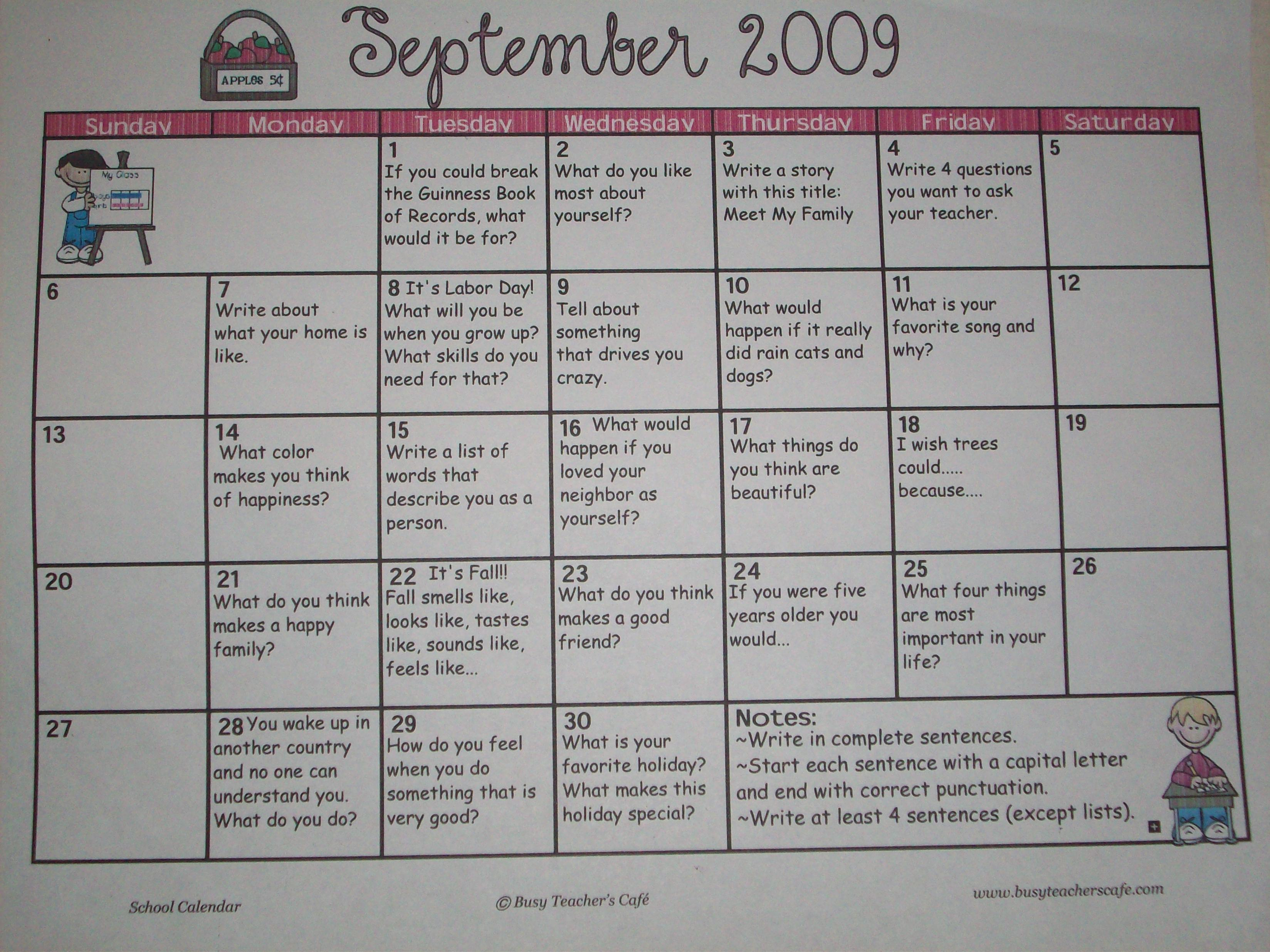 writing prompt calendar Did i give my journal prompt a title • did i put the date of the writing prompt writing calendar  title: september journal activities.