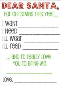 Christmas Wish List Template Kindergarten