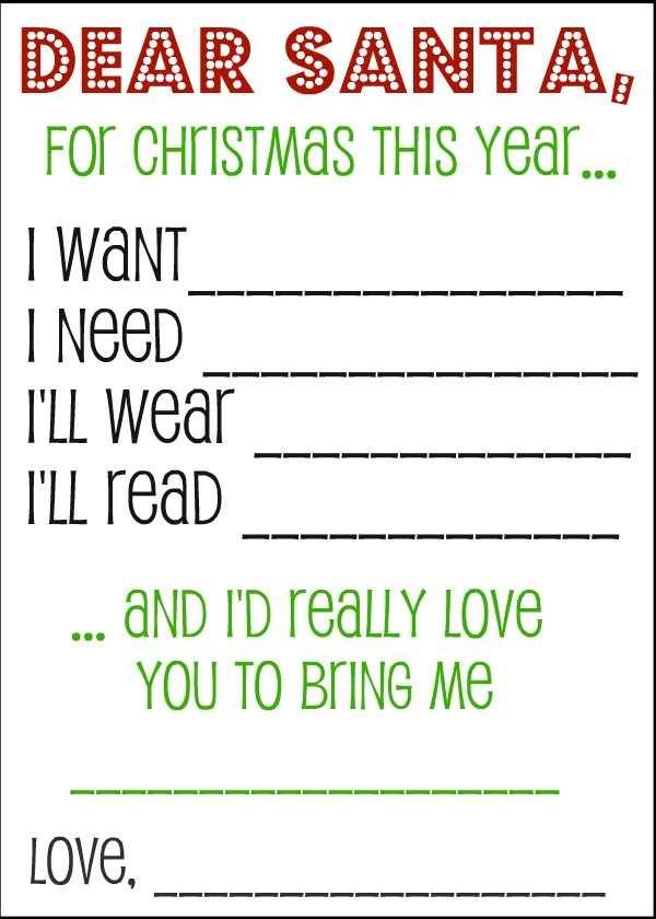 Activity Village. @ Somewhat Simple. @ Christmas Corner  Kids Christmas List Template