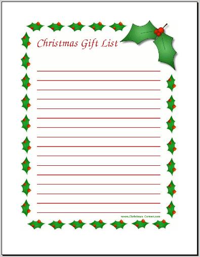 photograph relating to Printable Christmas List known as Printable Xmas Desire Lists - Amys Wandering