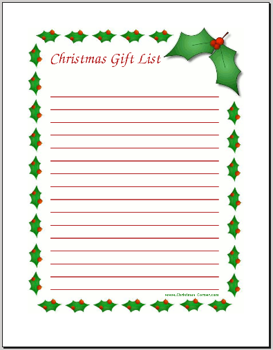 Somewhat Simple. @ Christmas Corner  Christmas Wish List Printable