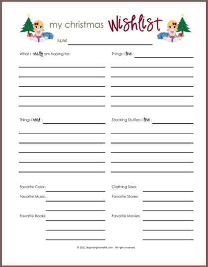 photograph relating to Printable Christmas Wish List named Printable Xmas Want Lists - Amys Wandering