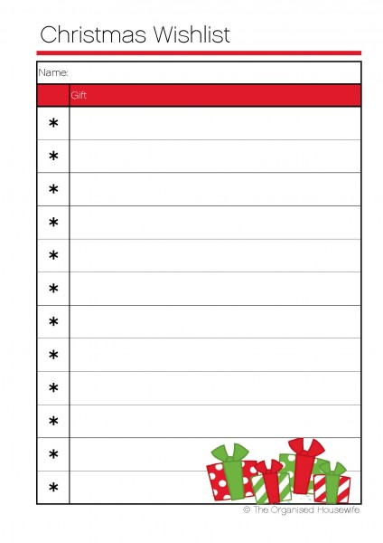 image about Free Printable Christmas Wish List identify Printable Xmas Drive Lists - Amys Wandering