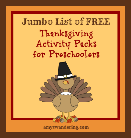 free thanksgiving preschool packs