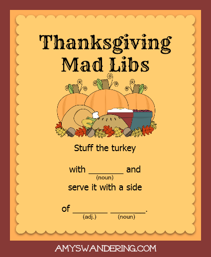 photograph relating to Thanksgiving Mad Libs Printable called Thanksgiving Nuts Libs - Amys Wandering