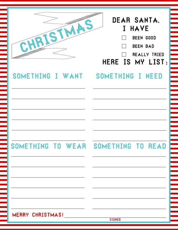 Printable Christmas Wish Lists Amys Wandering