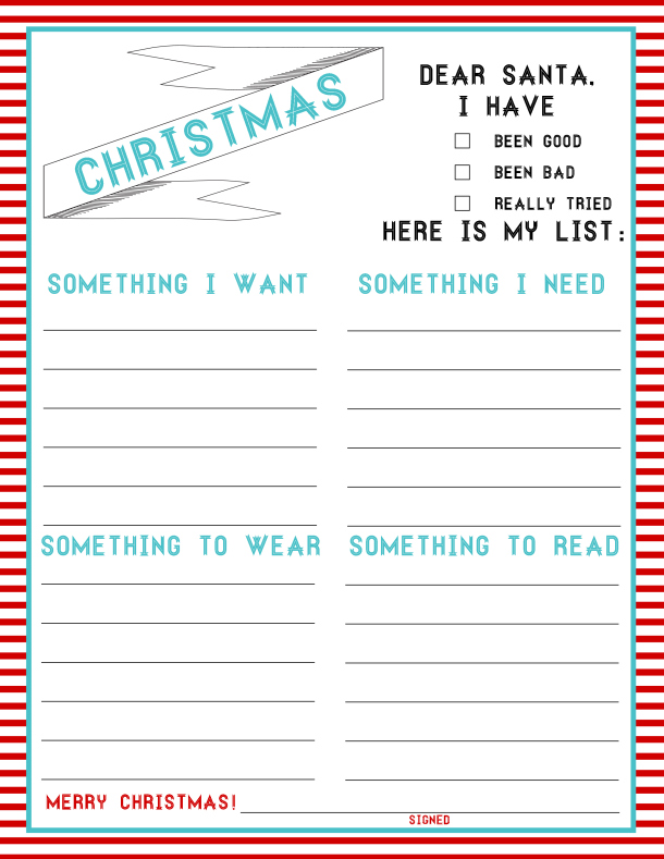 image regarding Santa Wish List Printable named Printable Xmas Want Lists - Amys Wandering
