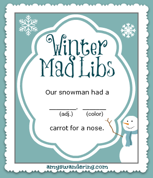 Winter Mad Libs - Amy's Wandering