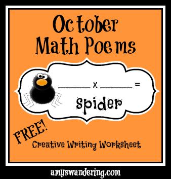 October Math Poem Worksheets