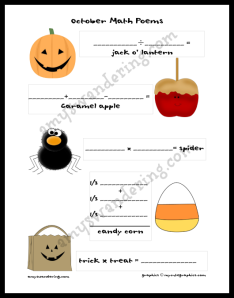 October Math Poems Printable