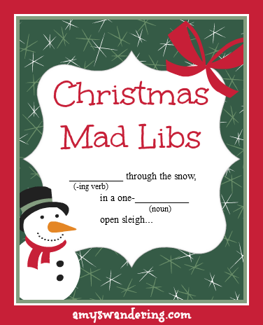 Christmas Mad Libs Fill In The Blanks