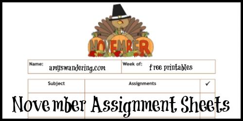 November Assigment Sheets