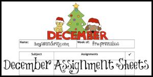 December Assignment Sheets