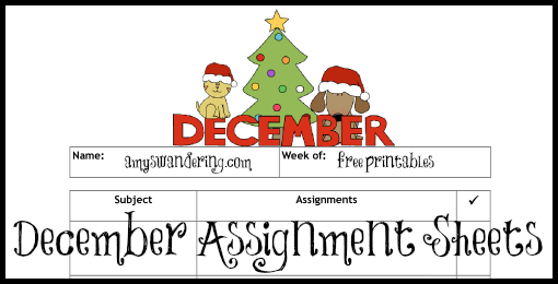 December Assignment Sheets