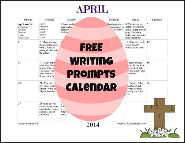 April 2014 Writing Prompts Calendar
