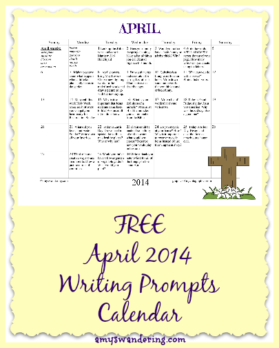 FREE April 2014 Writing Prompts Calendar